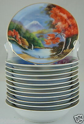 Vintage Berry Bowl Set 12 Hand Painted Scenic Blossoms Japan Gold Rim Fine China