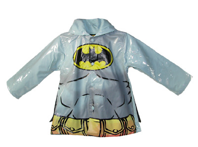 Kids Boy's DC Batman Gray Rain Coat Jacket with Cape Waterproof Youth Toddler