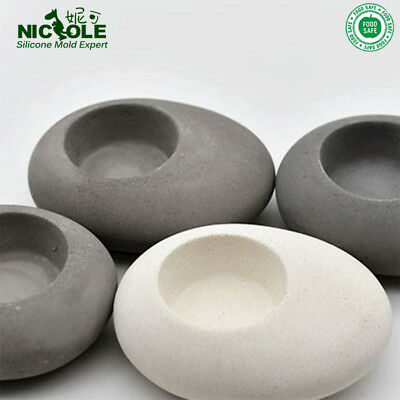 Cobblestone Candlestick Flowerpot Silicone Molds Craft Cement Candle Holder Tool