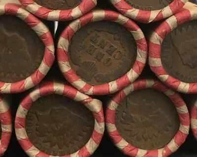 Wheat Pennies Shotgun Roll With Indian Head Cent Showing Both Ends - Estate Lot