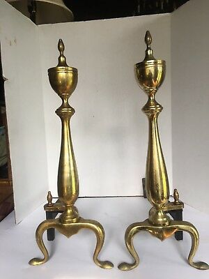 Vintage Puritan Solid Brass Andirons And Firedogs