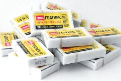 50 Blades FEATHER Hi-Stainless Platinum Double Edge Blades Yellow MADE IN JAPAN