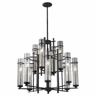 Feiss Ethan Antique Forged Iron/Aged Walnut Twelve-Light Chandelier