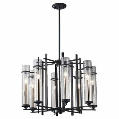 Feiss Ethan Antique Forged Iron/Brushed Steel Small Eight-Light Chandelier