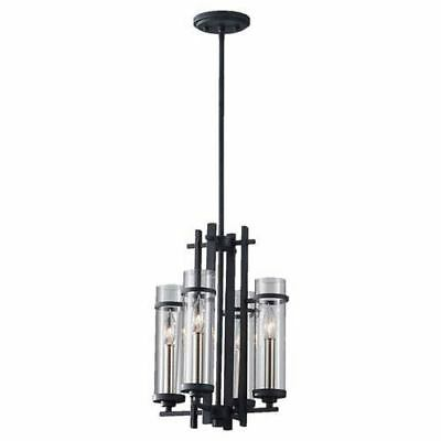 Feiss Ethan Antique Forged Iron/Brushed Steel Four-Light Chandelier
