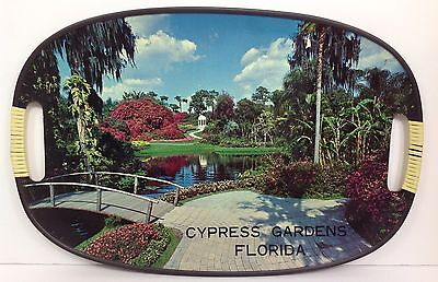 """Vintage Antique CYPRESS GARDENS FLORIDA 18"""" Decorative Made In Japan Tray Nice"""