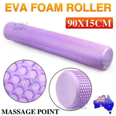 New Eva Physio Foam Roller Yoga Pilates Gym Exercise Trigger Massage 90X15Cm Au