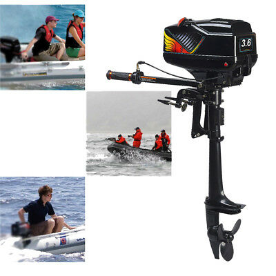 2-Stroke 3.6HP Outboard Motor Tiller Shaft Fishing Boat Engine W/ Water Cooling