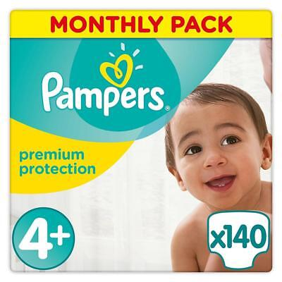 Pampers Premium Protection Nappies Size 4 Plus 9 to 18 kg, 140 Nappies Brand NEW