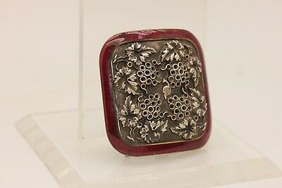 Antique Original Silver Brass And Enamel Amazing Small Belt Buckle