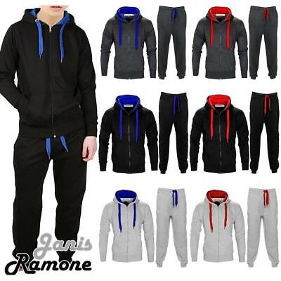 New Kids Boys Contrast Drawcord Fleece Hooded Top Bottom Set Jogging Tracksuit