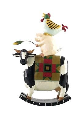 """WILLIRAYE STUDIO """"FLOCKS AND FRIENDS"""" PIG ROOSTER COW  Rocker Large 14"""" Country"""