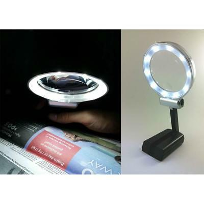 3X Folding Table Magnifier Glass Lens Self Standing Optical Tool LED Light