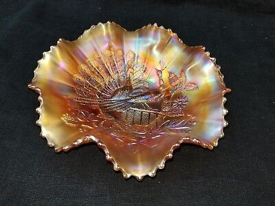 Northwood Stunning Marigold 2 Peacocks On The Fence Ruffle Bowl!!