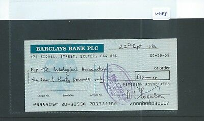 Cheque - Ch1488 -  Used -1984 - Barclays Bank, Sidwell Street, Exeter.
