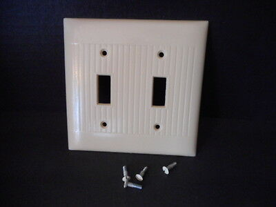 Vintage Sierra Electric Ivory Ribbed Bakelite 2 Gang Switch Cover w/ Screws