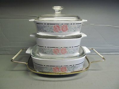 used Corning Silk & Roses Casseroles & Lids - 1, 1.5 and 2 liter