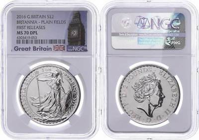 48399) 2 Pounds, 2016, Britannia, NGC MS70 DPL, First Releases, Big Ben Label