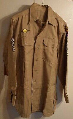 WWII US Army Khaki Shirt 1SG 3rd Armored Division Battle of the Bulge