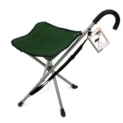 Heavy Duty Compact Light Portable Folding Seat Stool Chair W/ Walking Cane Green