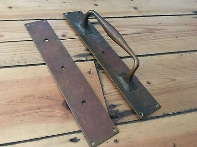 "Antique Edwardian Victorian Large Brass Door Handle + Finger Plate 15"" Door Pull"