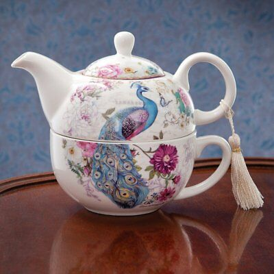 Bits and Pieces - Tea For One Peacock Porcelain Teapot and Cup Set - Elegant