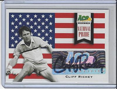 2013 Ace Authentic Grand Slam Tennis National Pride Auto Autogramm Cliff Richey