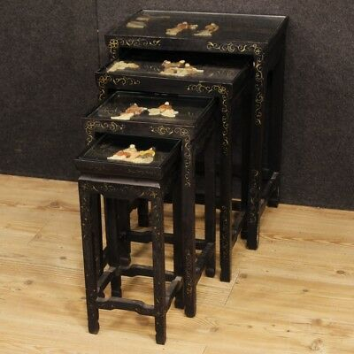 Set low tables lacquered chinoiserie furniture living room antique style 900 XX