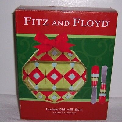 Hostess Dish with Bow and 2 Spreaders Christmas New Fitz and Floyd Christmas