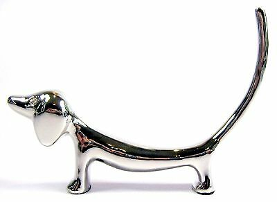 Dachshund Dog with Diamante Eyes & Long Tail  Silver Plated Ring Holder