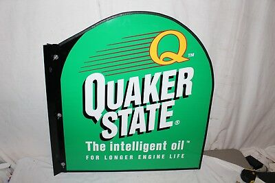 "Vintage Quaker State Motor Oil Gas Station 2 Sided 30"" Metal Sign W/Mount~Nice"