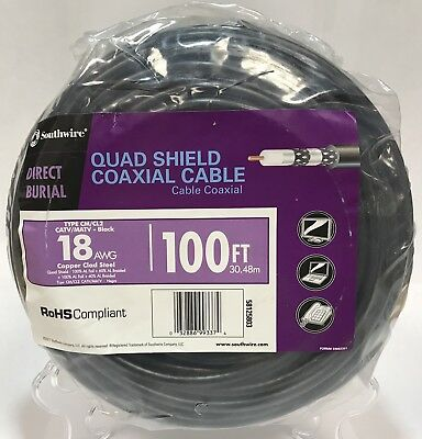 Southwire 100 FT RG6 18 AWG Direct Burial 3.0GHz Quad Shield Coaxial Cable Black