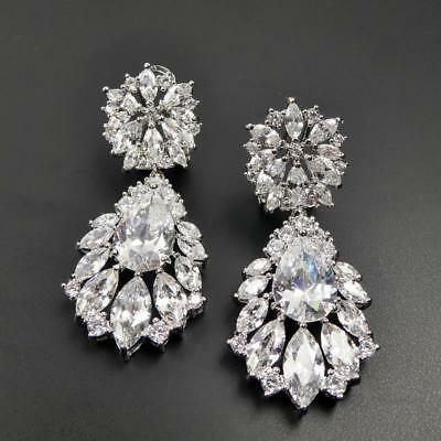 Shiny Silver Rhodium Plated CZ Floral Cluster Large Teardrop Statement Earrings