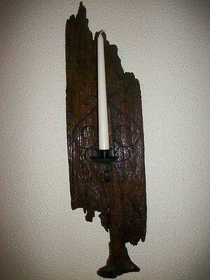 "RUSTIC DECOR HANDMADE BARN WOOD CANDLE HOLDER/SCONCE 26""x7'' WITH CANDLE"