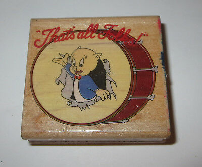 porky pig rubber stamp that s all folks looney tunes breaking