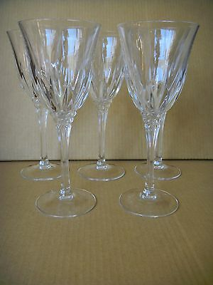 """Five Crystal D'Arques Durand Castel Pattern Water Goblets 8 3/4"""""""