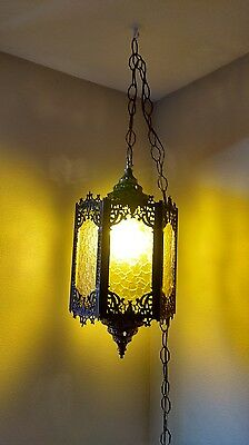 1970 VINTAGE GOTHIC MEDIEVAL SPANISH HANGING LAMP SWAG Amber acrylic lenses