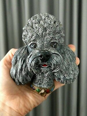 Poodle Dog Head Vtg Bossons England Chalkware Puppy Chalk Ware Black Wall Hang