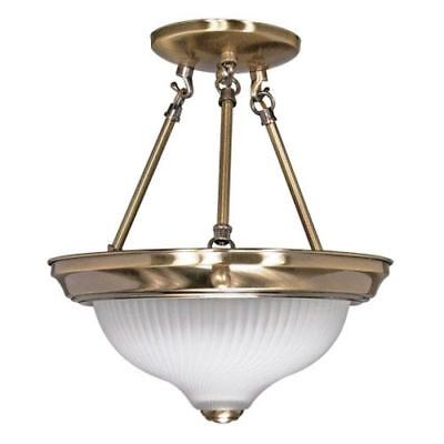Nuvo Lighting Antique Brass Two-Light Semi Flush Mount with Frosted Swirl Glass