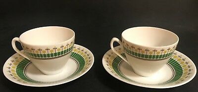 Pair Rörstrand Tea Cups & Saucers - Wasa Pattern - Carl-Henry Stålhane - Sweden