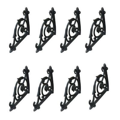 8 Pcs Cast Iron Antique Style Brackets Garden Braces Rustic Shelf Bracket Black