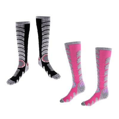 2 Pairs Women Breathable Winter Thermal Ski Socks Outdoor Sport Long Socks