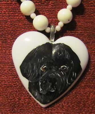 Newfoundland hand painted on white heart pendant/bead/necklace