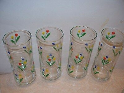 "4 Large Vintage Libbey Spring Tulip~Red,Yellow,Blue,~Tumblers 6.5"" Glasses"