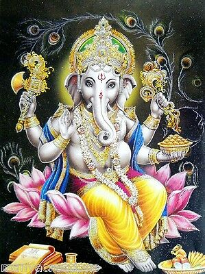 Blessing Lord Ganesha Glitter Hindu God Poster Colorful Rare RELIGIOUS EDH