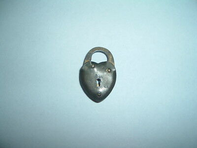 Vintage Old Brass Small Heart Shaped Padlock Lock  1""