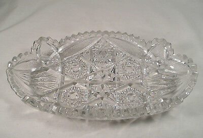 Vintage Clear Cut Glass Celery Dish by Nucut, Etched Glass Serving Dish Crystal
