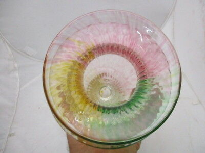 Large Antique Victorian Art Glass Vase Multi Color Red Green Yellow Swirled