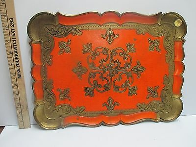 Vtg Orange  Gold GILT TOLE ITALIAN FLORENTINE TRAY ITALY Hollywood Regency