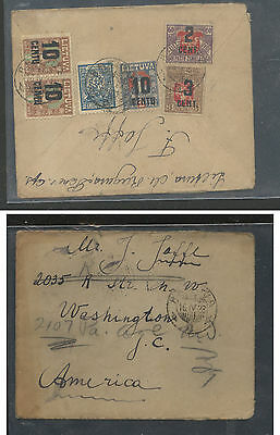 Lithuania  nice franking overprinted stamps to US  1923         APL0129